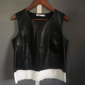 Bailey 44 faux leather/lace top M